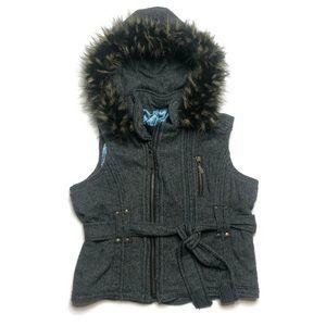 BB Dakota Grey Hooded Vest Fur Hood